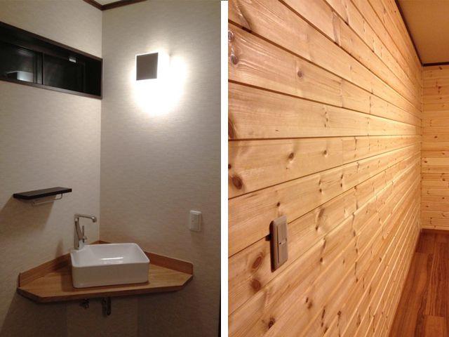 手洗 木の壁